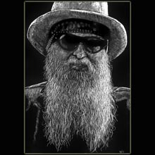 Billy                   Gibbons, scratchboard, portrait, drawing, Underwood