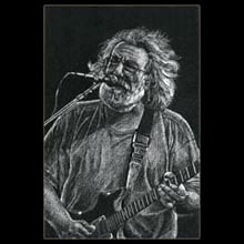 Jerry Garcia,                 White Pencil, Drawing, Underwood