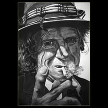 Keith Richards,                 Charcoal, Drawing, Underwood