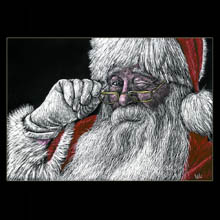Santa Claus,                 Santa, Scratchboard, Drawing, Underwood