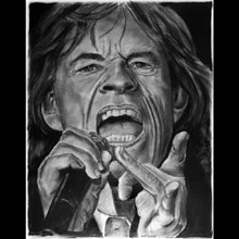 Mick                 Jagger, Rolling Stones, Singer, Charcoal, Drawing,                 Underwood