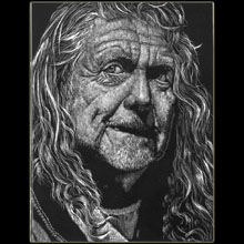 Robert Plant, Led Zeppelin, Singer, scratchboard,                   Underwood