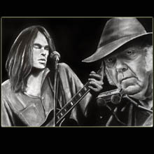 Neil                         Young, Charcoal, Drawing, Musician