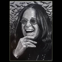 Ozzy,                   Osborne, Charcoal, Drawing